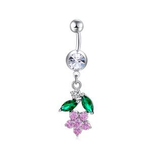 Flower Design Faux Diamond Belly Button Jewelry