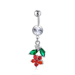 Flower Design Faux Diamond Bijoux à ventre - Rouge Clair