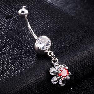 Flower Faux Ruby Inlay Belly Button Jewelry