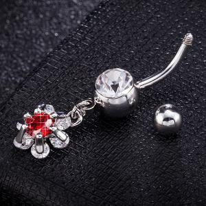 Flower Faux Ruby Inlay Belly Button Jewelry - RED