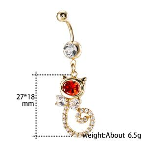 Rhinestone Inlay Cat Shape Navel Button -