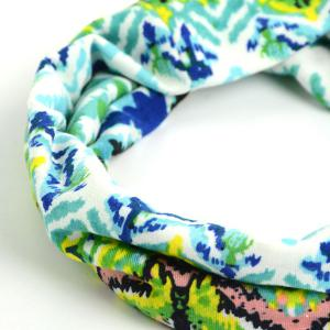 Showy Multicolor Pattern Snood Headband - Vert