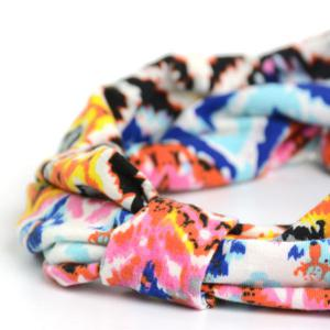 Showy Multicolor Pattern Snood Headband - Bleu