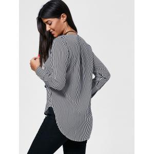 Striped Flounce High Low Shirt - STRIPE L