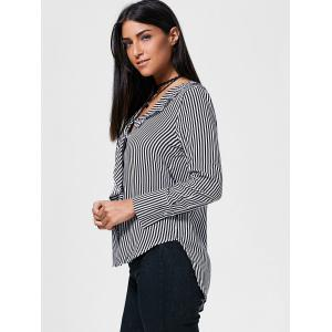 Striped Flounce High Low Shirt -