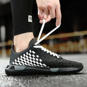 Plaid Pattern Weave Breathable Casual Shoes - BLACK WHITE 40