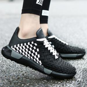 Plaid Pattern Weave Breathable Casual Shoes - Black White - 40