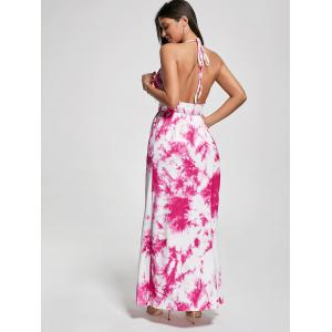 Halter Printed Maxi Backless Summer Dress - PAPAYA M