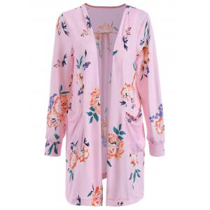 Open Front Pocket Long Floral Cardigan - Pink - Xl