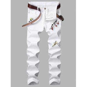 Birds Embroidered Appliques Design Zipper Fly Jeans