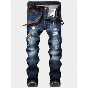 Embroidered Appliques Design Zipper Fly Ripped Jeans - Blue - 36