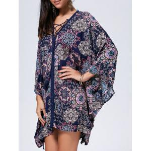 Lace Up Printed Kaftan Dress - Colormix - L