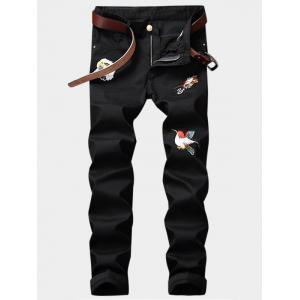 Birds Embroidery Design Zipper Fly Straight Leg Jeans - Black - 36