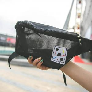 Semi Sheer Mesh Waist Bag - Noir