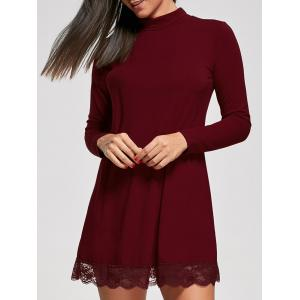 Lace Trim Long Sleeve Tunic Dress - Wine Red - M