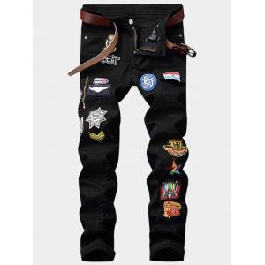 Cartoon Embroidered Appliques Zipper Fly Pocket Ripped Jeans