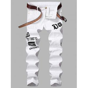 Graphic Print Zipper Fly Straight Leg Ripped Jeans