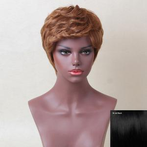 Siv Hair Short Inclined Bang Layered Curly Human Hair Wig