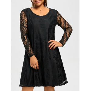 Long Sleeve Sheer Lace Plus Size Casual Dress - Black - 6xl