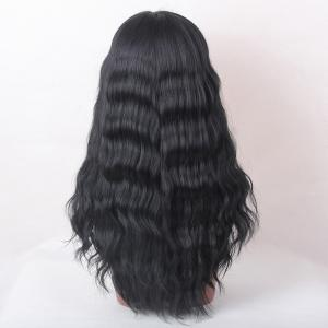Long Neat Bang Shaggy Natural Wave cheveux humains perruque - JET NOIR #01