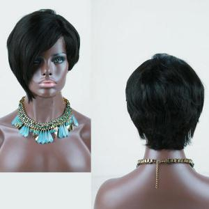 Short Side Parting Layered Asymmetric Straight Synthetic Wig