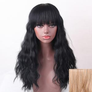 Long Neat Bang Shaggy Natural Wave Human Hair Wig - Brown With Blonde