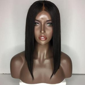 Medium Center Parting Straight Bob Lace Front Hair Hair Wig - Naturel Noir