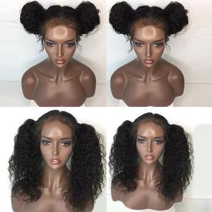 Free Part Long Water Wave Lace Front Human Hair Wig - NATURAL BLACK