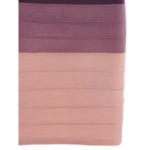 Striped Cape Sleeve Color Block Bandage Dress - PINK ONE SIZE