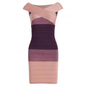 Striped Cape Sleeve Color Block Bandage Dress