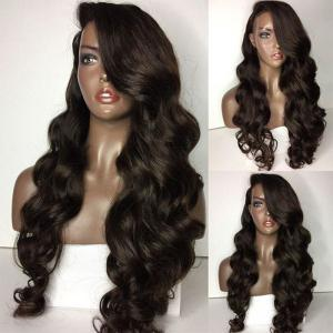 Long Side Parting Loose Body Wave Lace Front Human Hair Wig - Natural Black