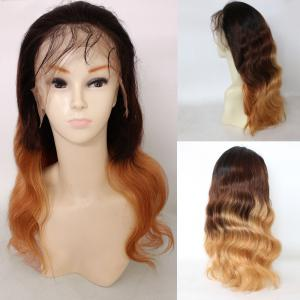 Long Colormix Free Part Loose Wave Indian Lace Front Human Hair Wig - Gradual Brown