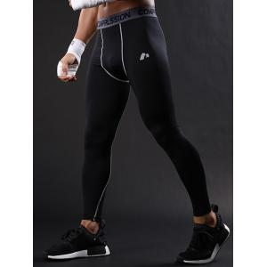 Graphic Elastic Waist Quick Dry Suture Stretchy Gym Pants - GRAY 2XL