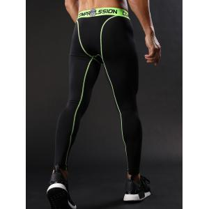 Graphic Elastic Waist Quick Dry Suture Stretchy Gym Pants - GREEN L