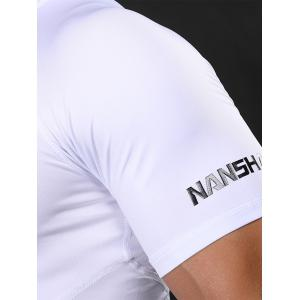 Fitted Crew Neck Stretchy Raglan Sleeve Gym T-shirt - WHITE XL