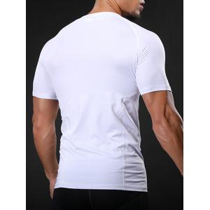 Fitted Crew Neck Stretchy Raglan Sleeve Gym T-shirt - WHITE L