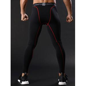 Graphic Elastic Waist Quick Dry Suture Stretchy Gym Pants - RED L