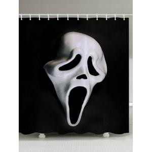 Halloween Ghost Mask Print Fabric Waterproof Bathroom Shower Curtain - Black White - W71 Inch * L79 Inch