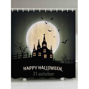 Halloween Moon Castle Print Fabric Waterproof Bathroom Shower Curtain