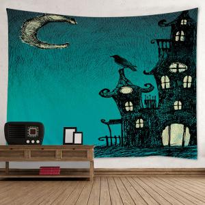Halloween Night Print Tapestry Wall Hanging Art Decoration - Green - W79 Inch * L59 Inch