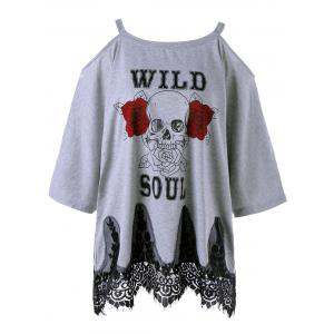 Plus Size Lace Panel Cold Shoulder Skull Print T-shirt - Gray - Xl