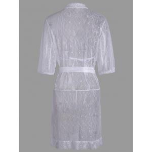 Lace Sheer Wrap Sleep Dress - Blanc TAILLE MOYENNE