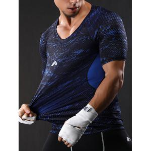 Camouflage Raglan Sleeve Quick Dry Stretchy Gym T-shirt - BLUE L
