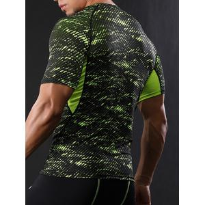 Camouflage Raglan Sleeve Quick Dry Stretch Gym T-shirt - Vert 2XL