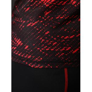 Camouflage Raglan Sleeve Quick Dry Stretchy Gym T-shirt - RED XL