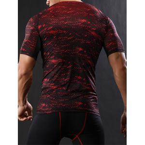 Camouflage Raglan Sleeve Quick Dry Stretchy Gym T-shirt - RED 2XL