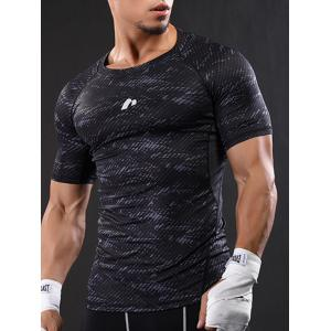Camouflage Raglan Sleeve Quick Dry Stretchy Gym T-shirt - GRAY L