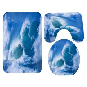 Ocean Wave Pattern 3 Pcs Flannel Toilet Mat Bath Mat -
