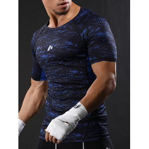 Camouflage Raglan Sleeve Quick Dry Stretchy Gym T-shirt - BLUE 2XL