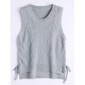 High Low Lace Up Knitted Vest - Gray - One Size
